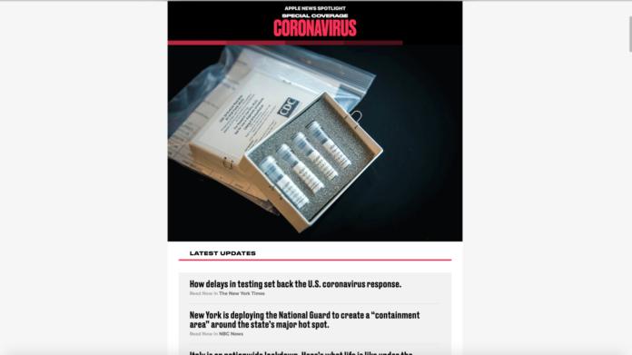 Apple News adaugă o secțiune de acoperire specială pentru urmărirea focarului de coronavirus